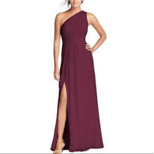 long one shoulder chiffon bridesmaid dress